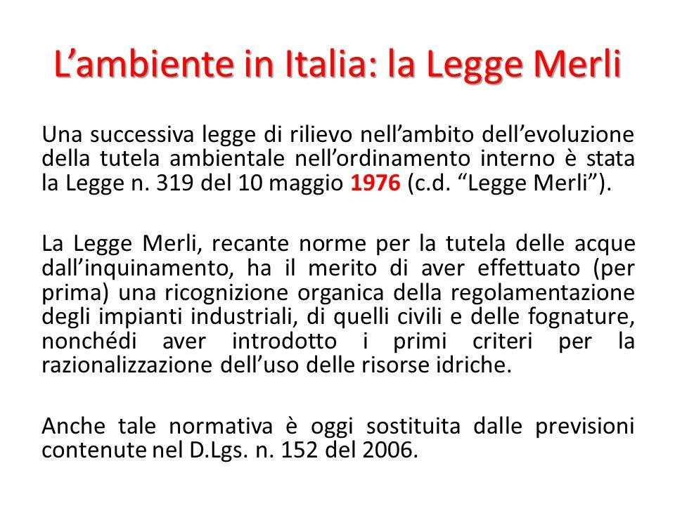 L'ambiente in Italia: la Legge Merli