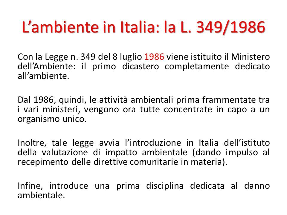 L'ambiente in Italia: la L. 349/1986