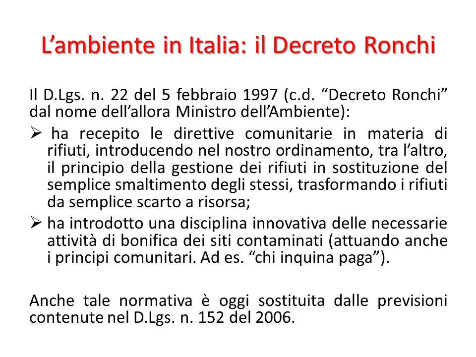 L'ambiente in Italia: il Decreto Ronchi