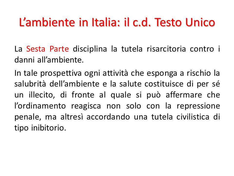 L'ambiente in Italia: il c.d. Testo Unico