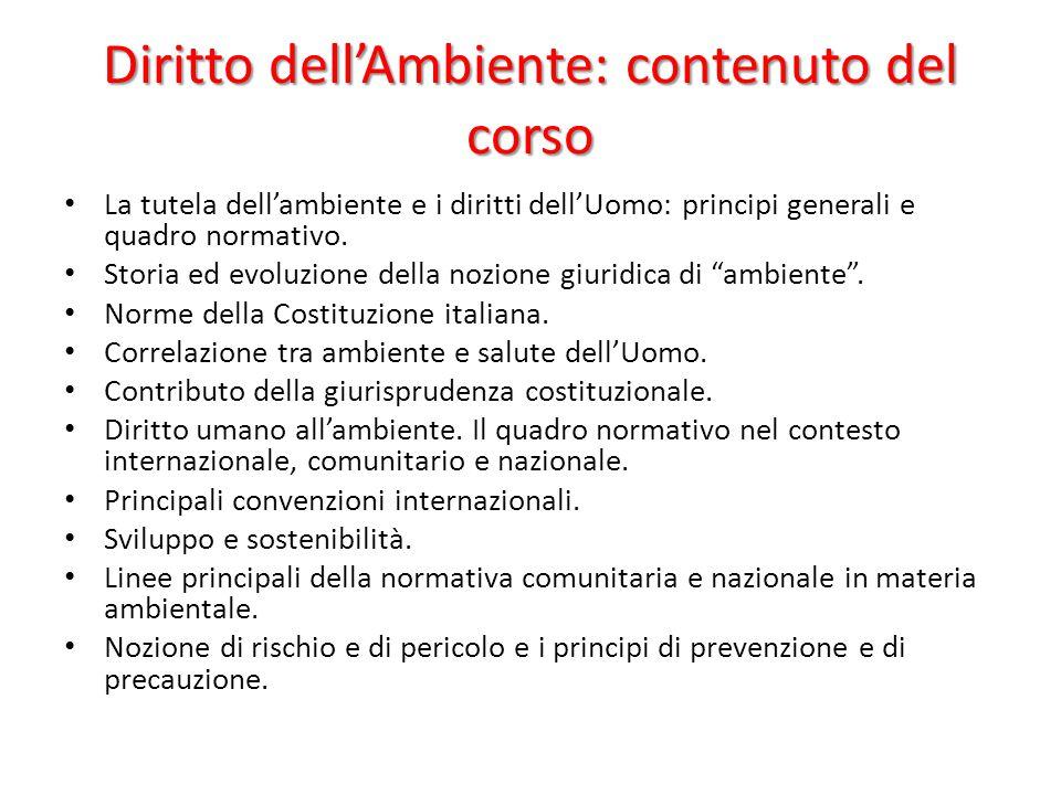 Diritto dell'Ambiente: contenuto del corso