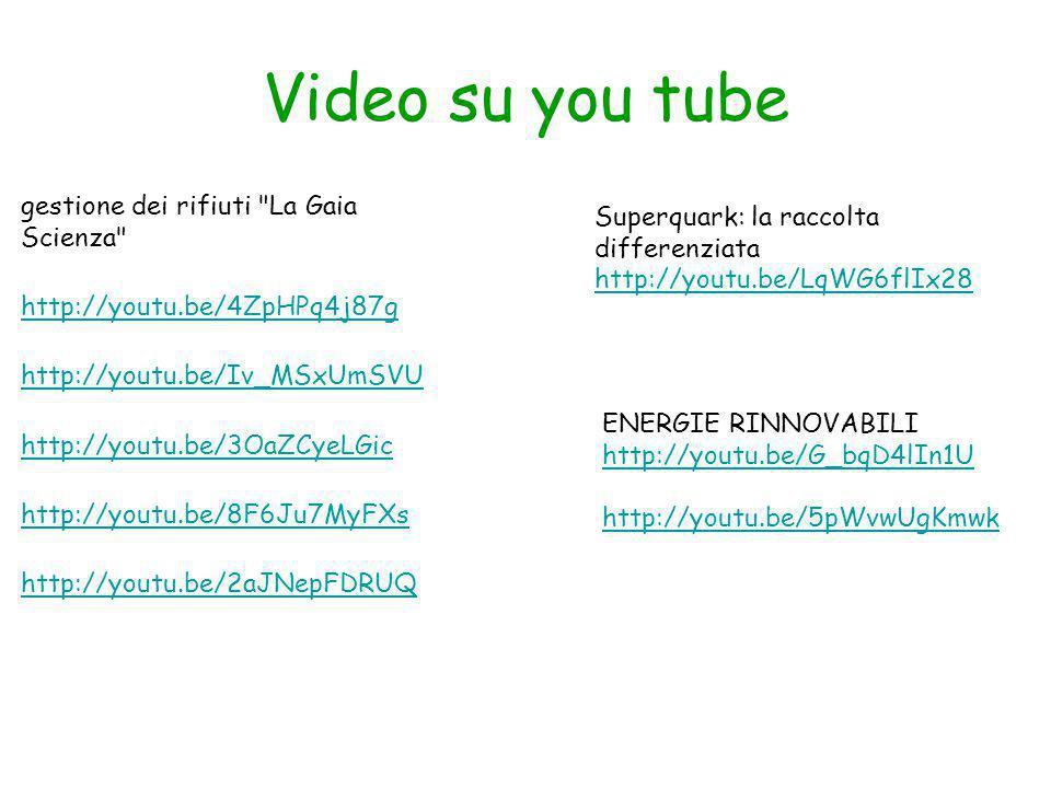 Video su you tube gestione dei rifiuti La Gaia Scienza