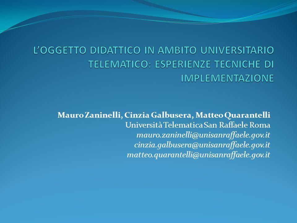 l'oggetto didattico in ambito universitario telematico: Esperienze tecniche di implementazione