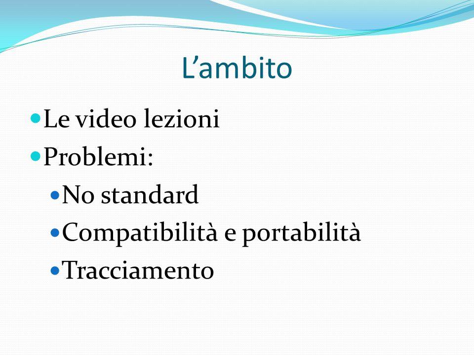 L'ambito Le video lezioni Problemi: No standard