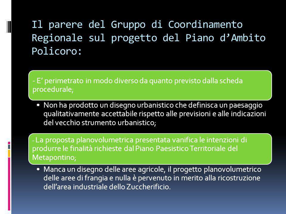 Il parere del Gruppo di Coordinamento Regionale sul progetto del Piano d'Ambito Policoro: