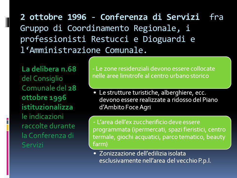 2 ottobre 1996 - Conferenza di Servizi fra Gruppo di Coordinamento Regionale, i professionisti Restucci e Dioguardi e l'Amministrazione Comunale.