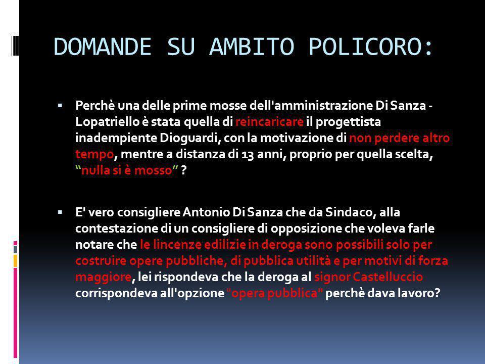DOMANDE SU AMBITO POLICORO: