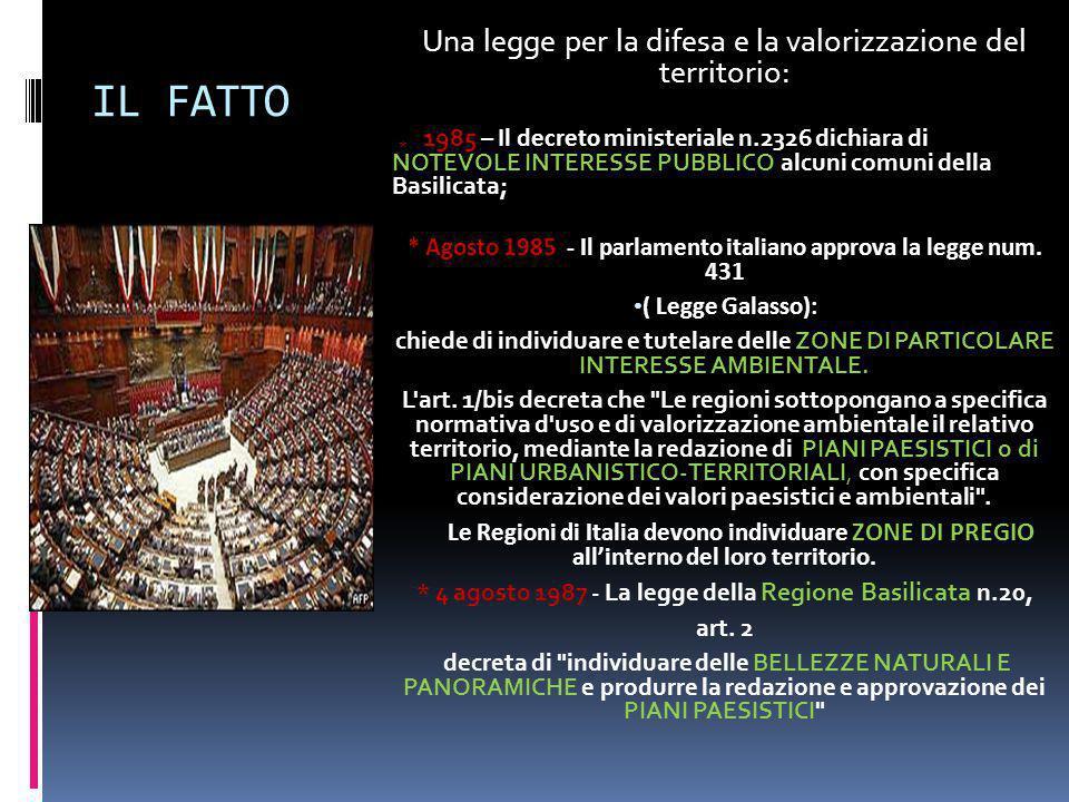* 4 agosto 1987 - La legge della Regione Basilicata n.20,