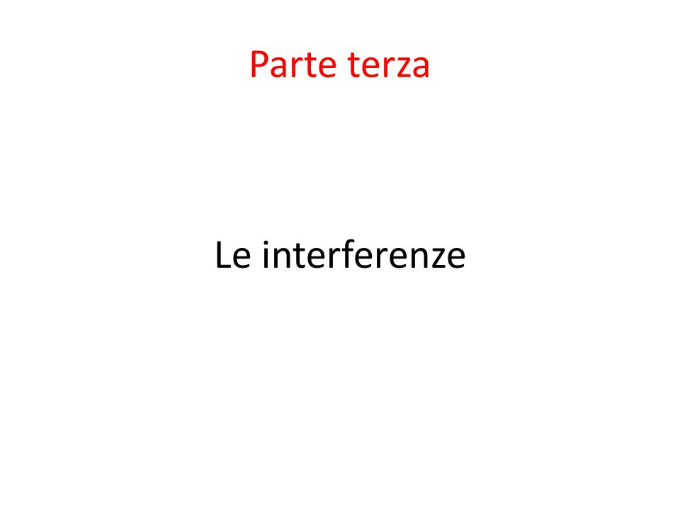 Parte terza Le interferenze