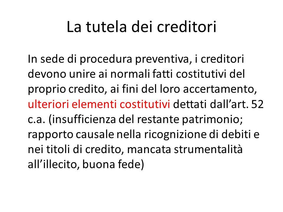 La tutela dei creditori