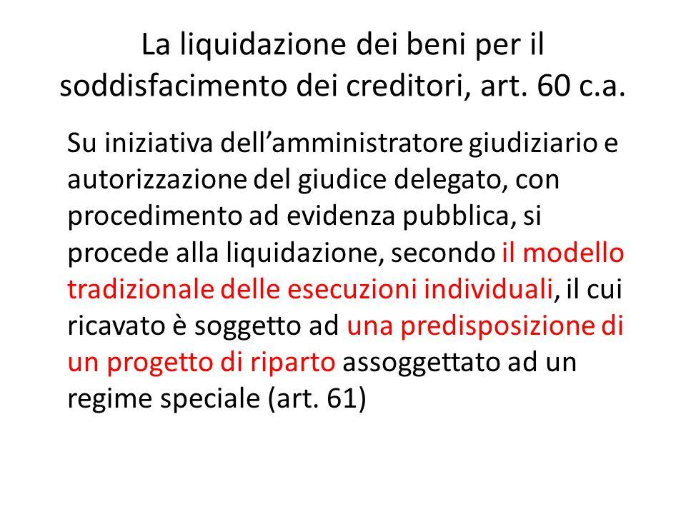 La liquidazione dei beni per il soddisfacimento dei creditori, art
