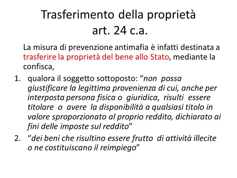 Trasferimento della proprietà art. 24 c.a.