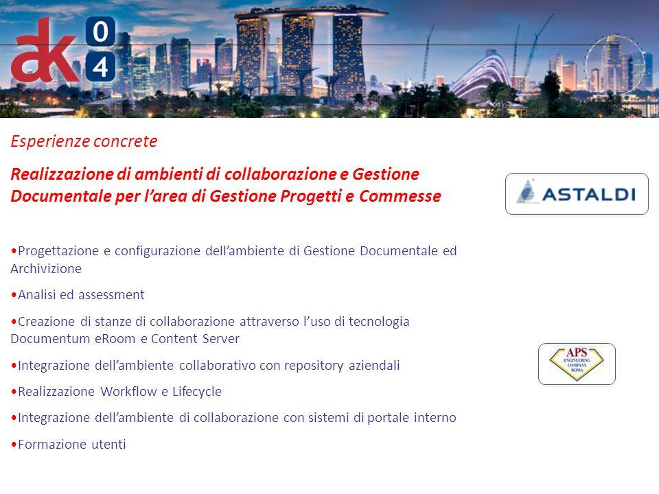 Esperienze concrete Realizzazione di ambienti di collaborazione e Gestione Documentale per l'area di Gestione Progetti e Commesse.