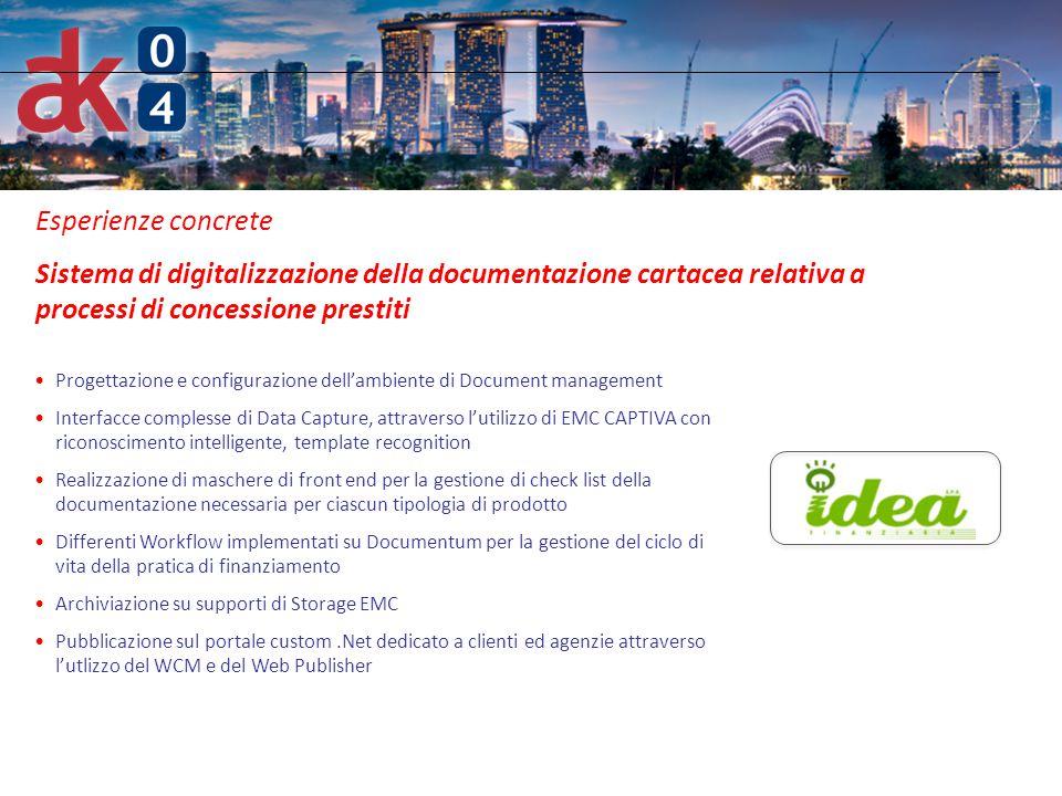 Esperienze concrete Sistema di digitalizzazione della documentazione cartacea relativa a processi di concessione prestiti.