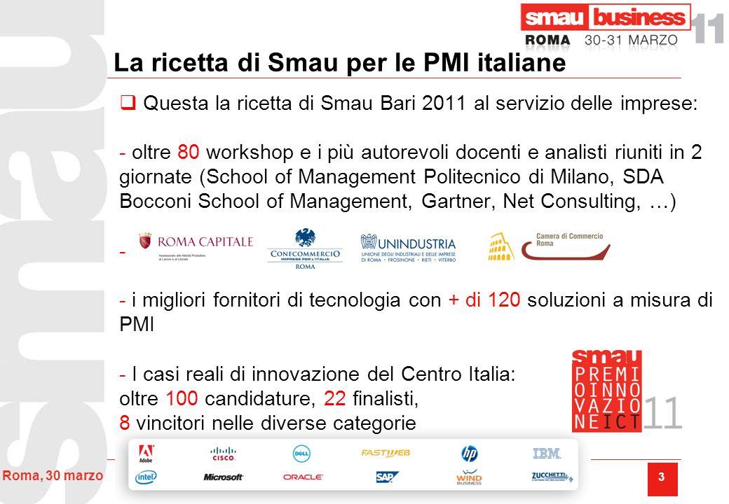 I numeri di Smau Roma 2011 Una seconda edizione dell'evento nella capitale contraddistinta da una forte crescita.