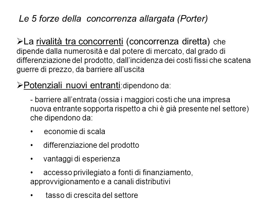 Le 5 forze della concorrenza allargata (Porter)