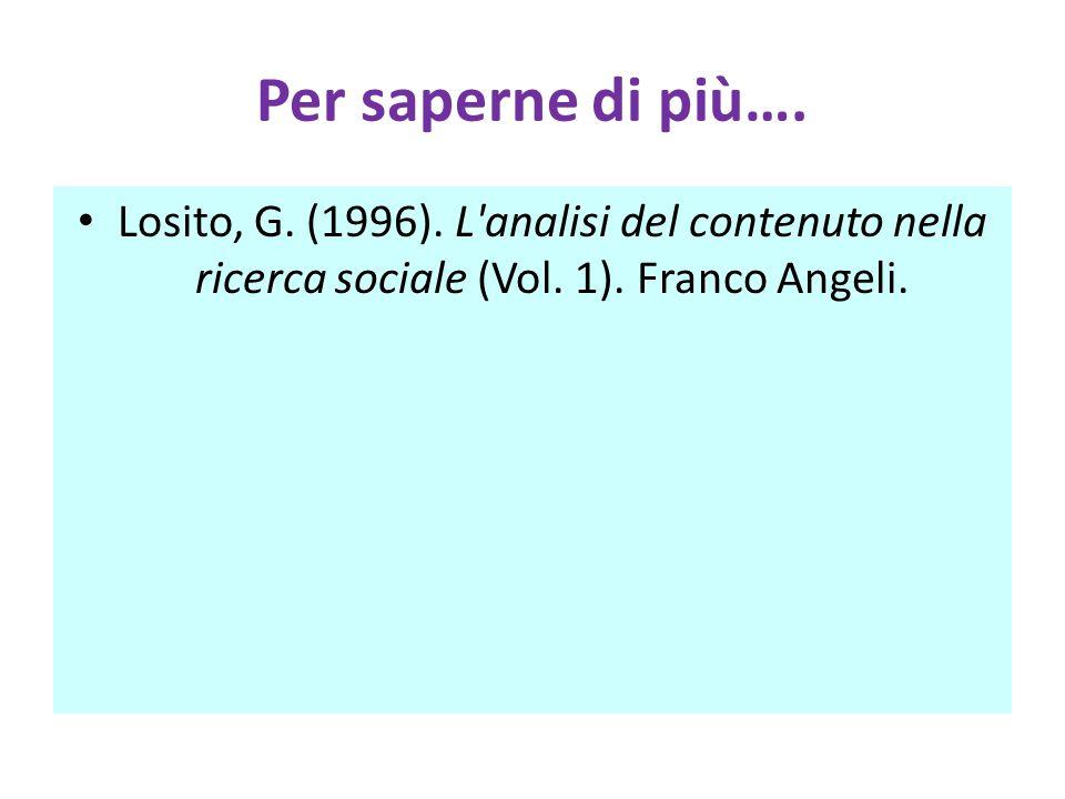 Per saperne di più…. Losito, G. (1996). L analisi del contenuto nella ricerca sociale (Vol.