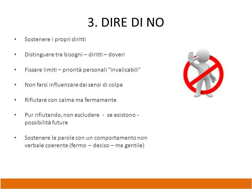 3. DIRE DI NO Sostenere i propri diritti