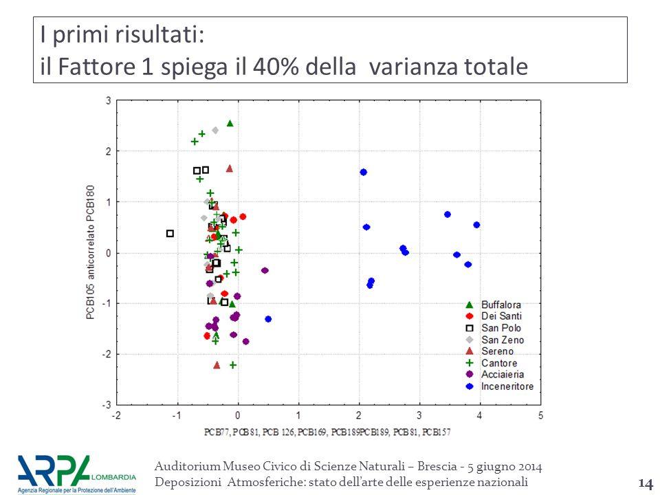 I primi risultati: il Fattore 1 spiega il 40% della varianza totale