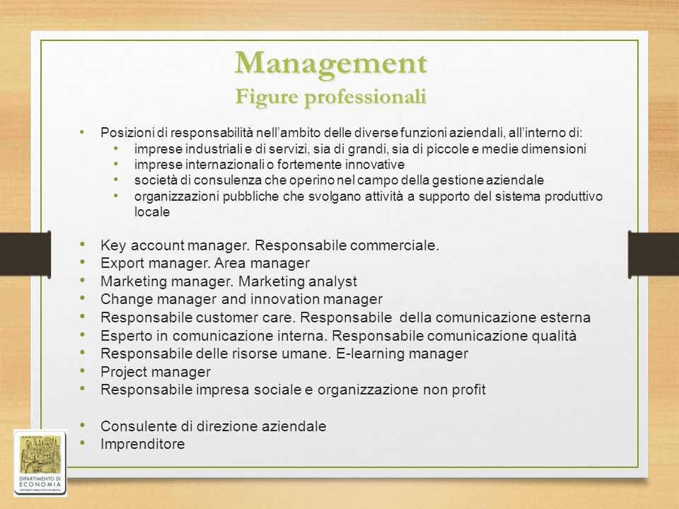 Management Figure professionali