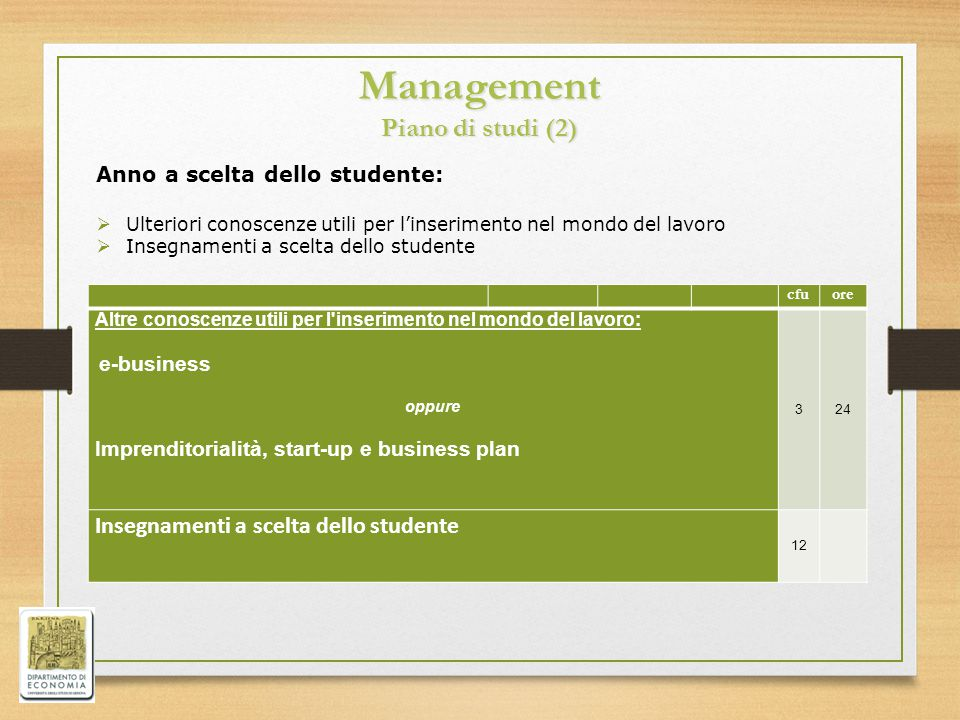 Management Piano di studi (2)