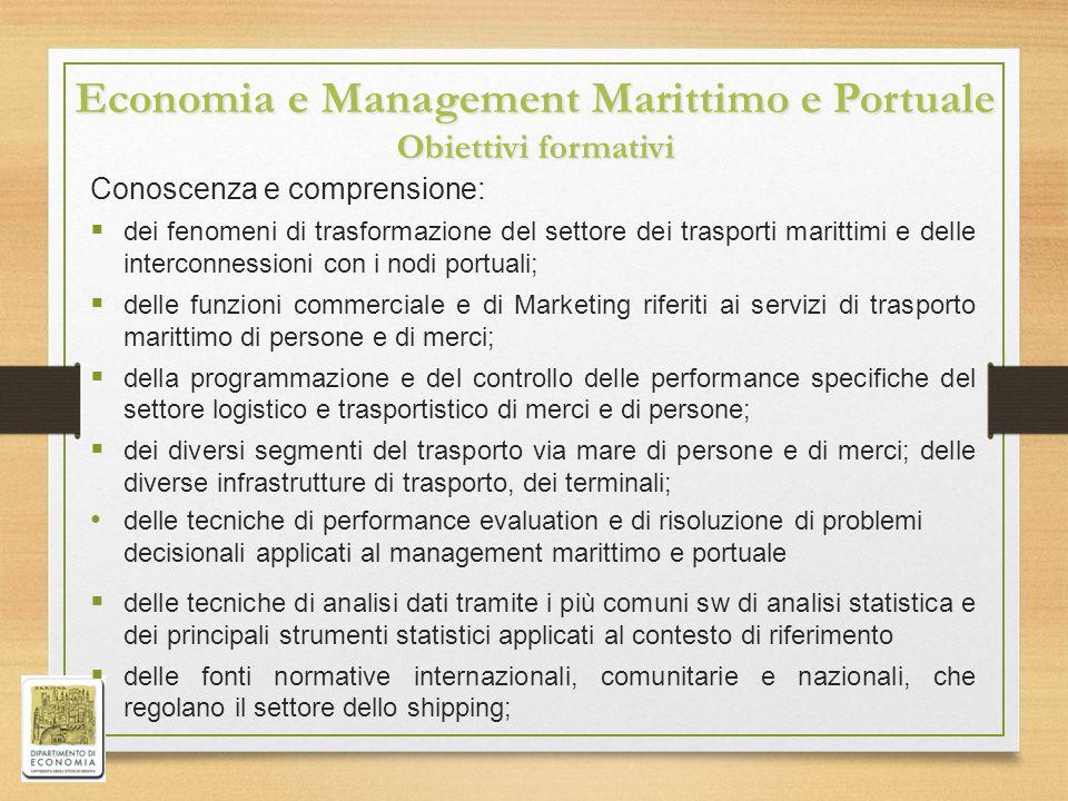 Economia e Management Marittimo e Portuale Obiettivi formativi