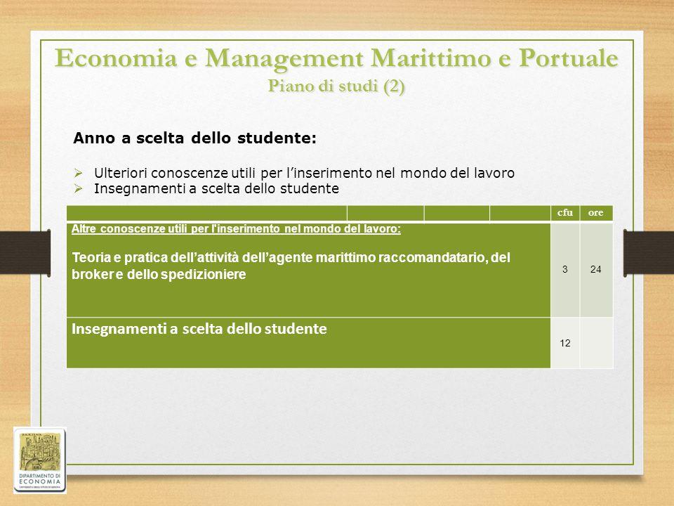 Economia e Management Marittimo e Portuale Piano di studi (2)
