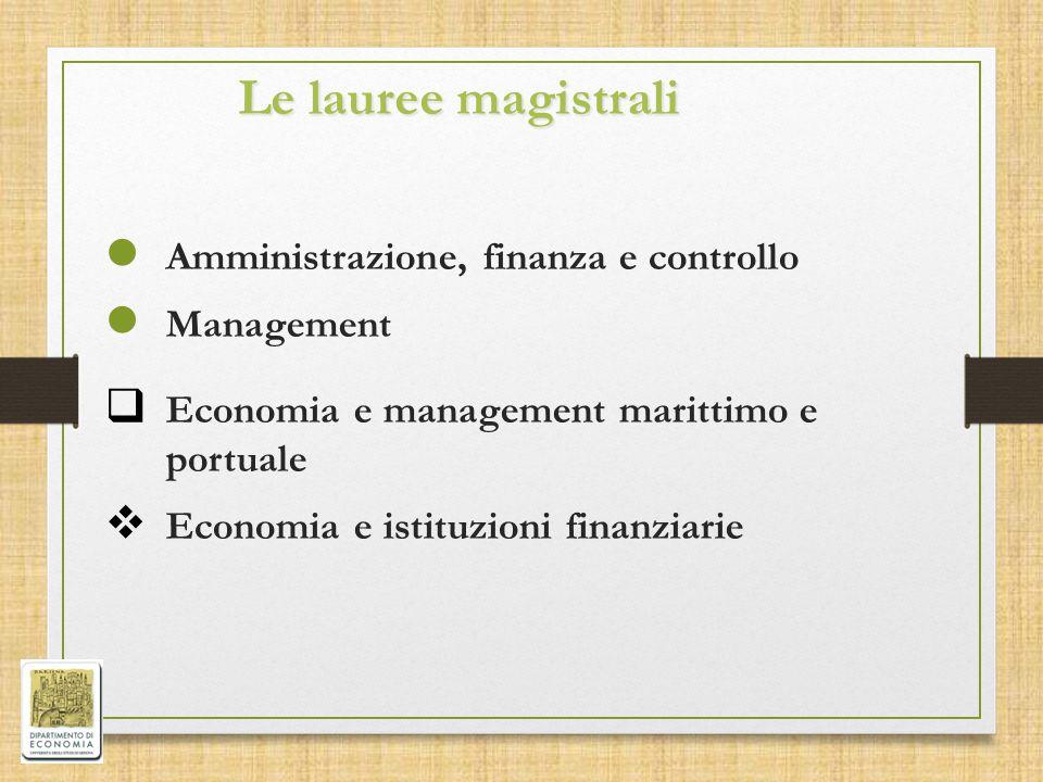 Le lauree magistrali Amministrazione, finanza e controllo Management