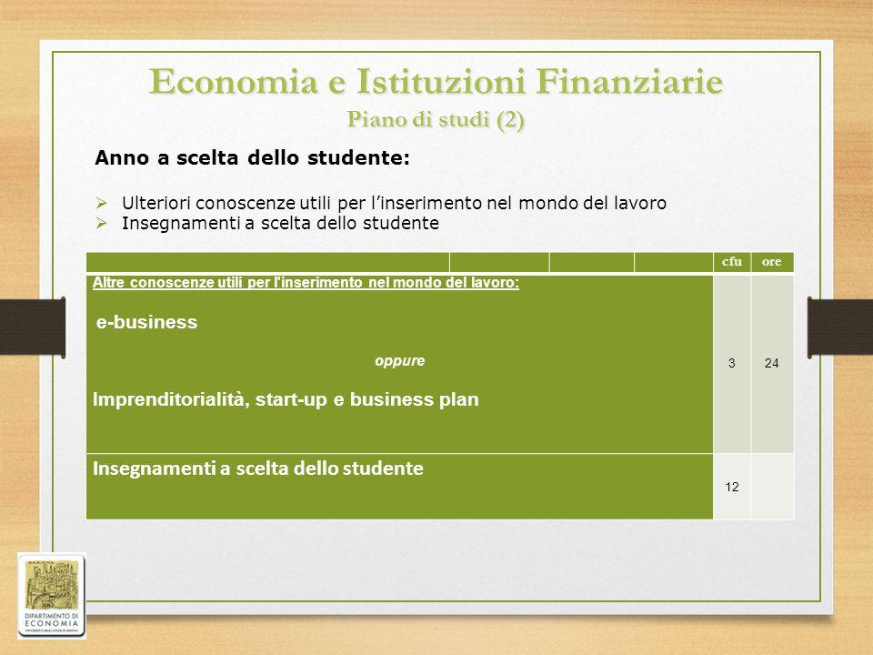 Economia e Istituzioni Finanziarie Piano di studi (2)