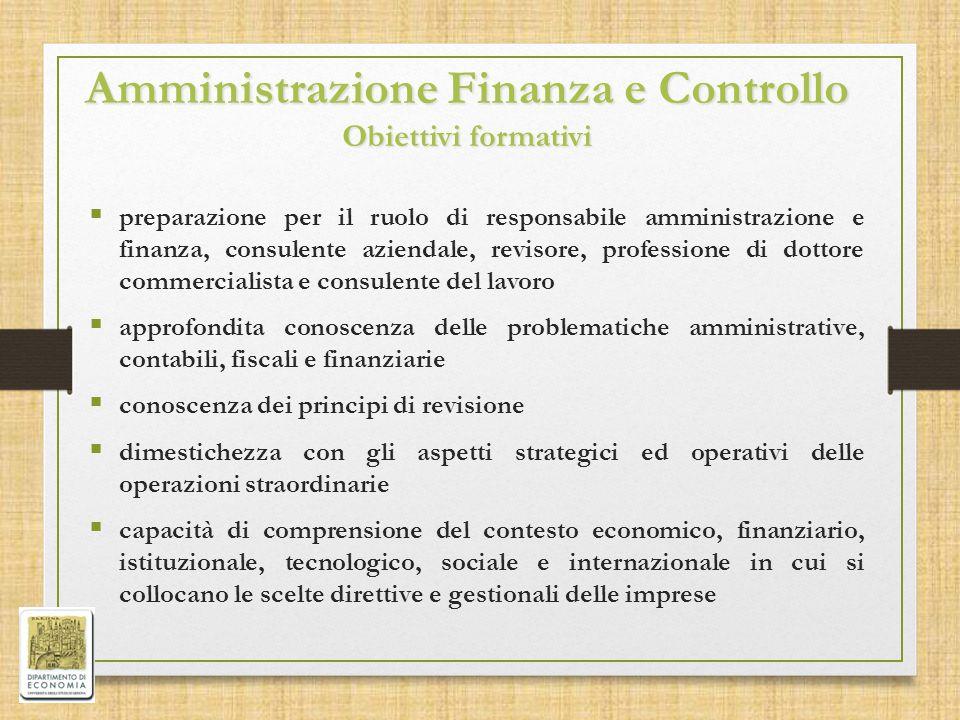 Amministrazione Finanza e Controllo Obiettivi formativi