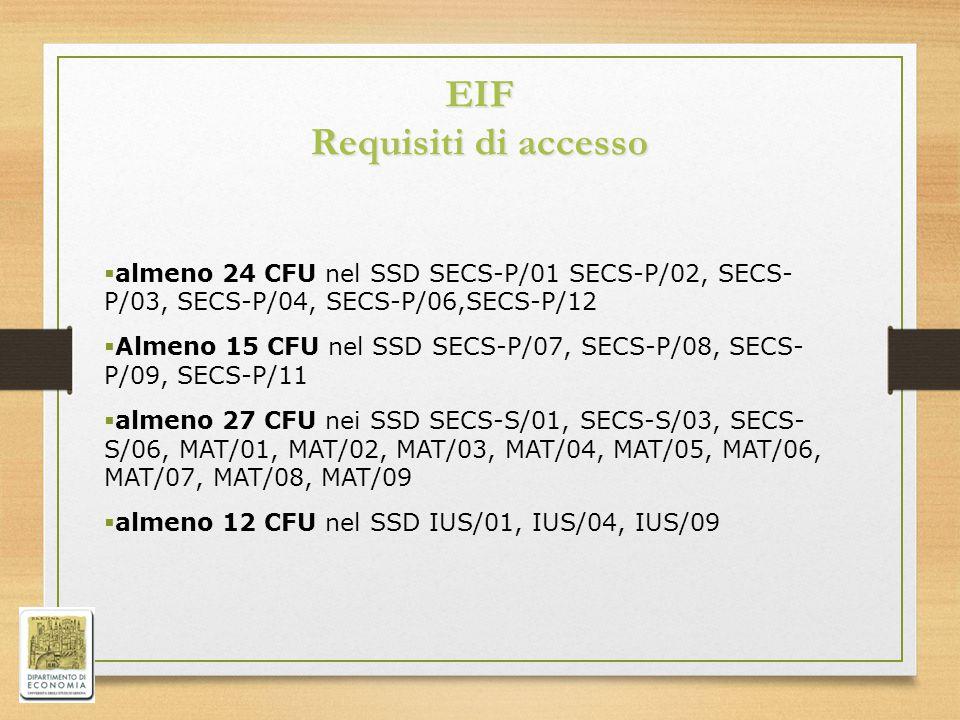 EIF Requisiti di accesso