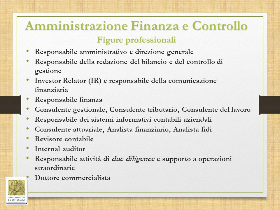 Amministrazione Finanza e Controllo Figure professionali
