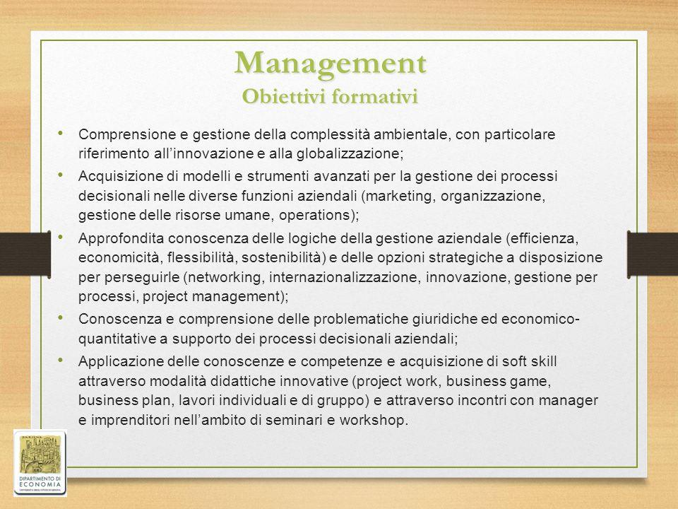 Management Obiettivi formativi