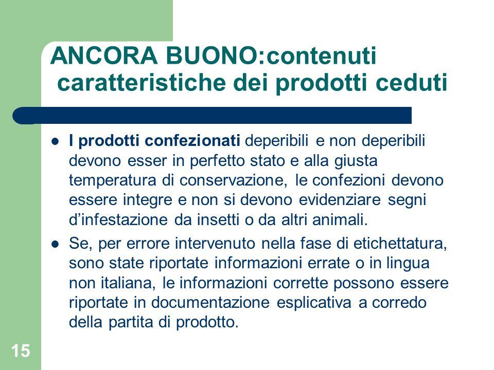 ANCORA BUONO:contenuti caratteristiche dei prodotti ceduti