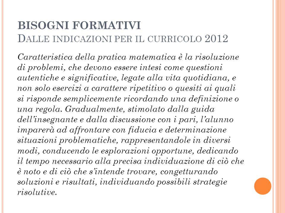BISOGNI FORMATIVI Dalle indicazioni per il curricolo 2012