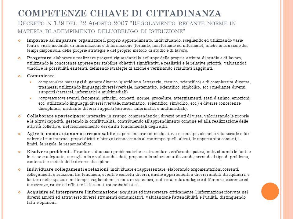 competenze chiave di cittadinanza Decreto n