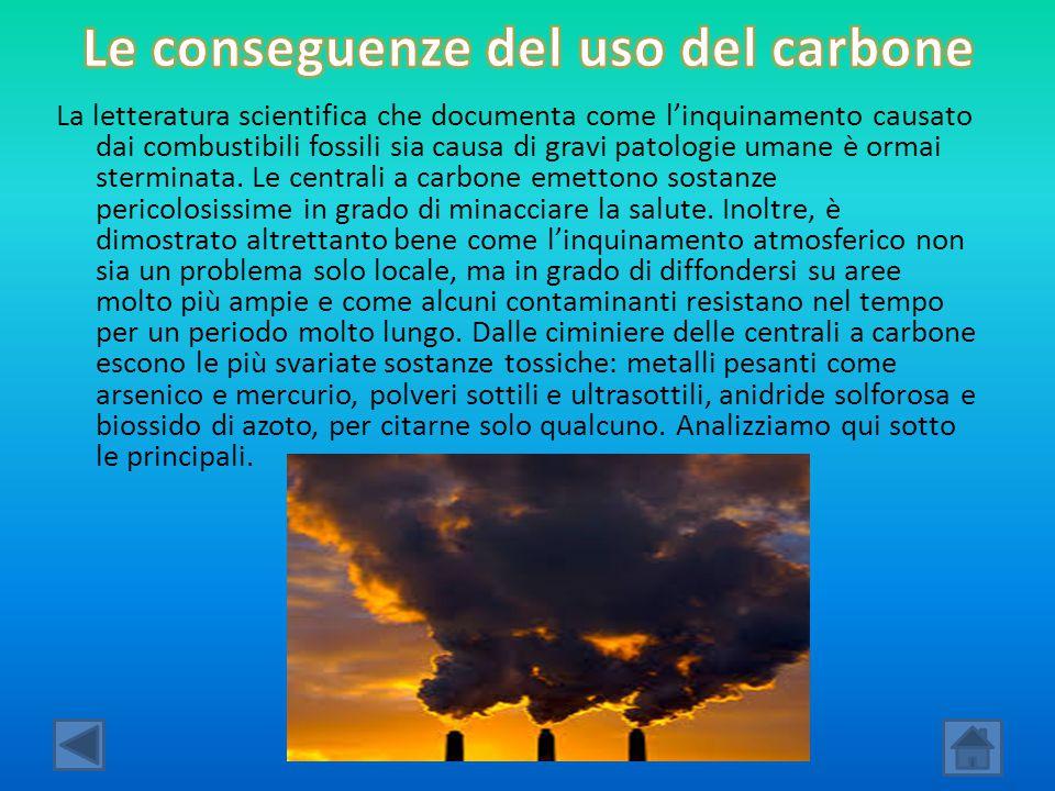 Le conseguenze del uso del carbone