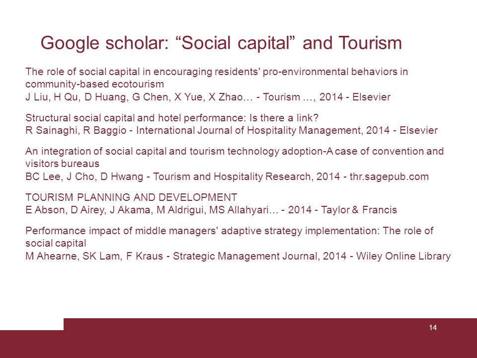 Google scholar: Social capital and Tourism