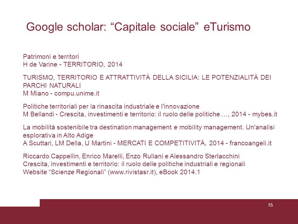 Google scholar: Capitale sociale eTurismo