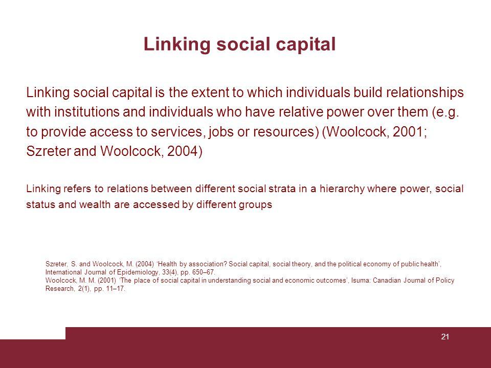 Linking social capital