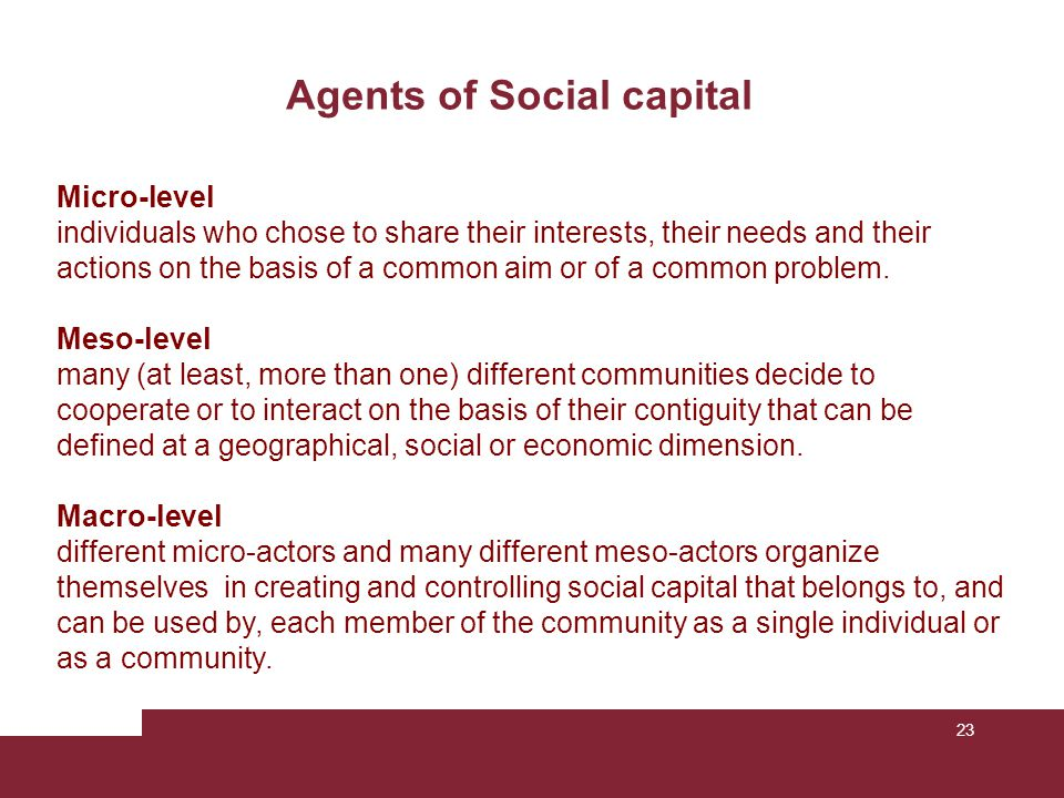 Agents of Social capital