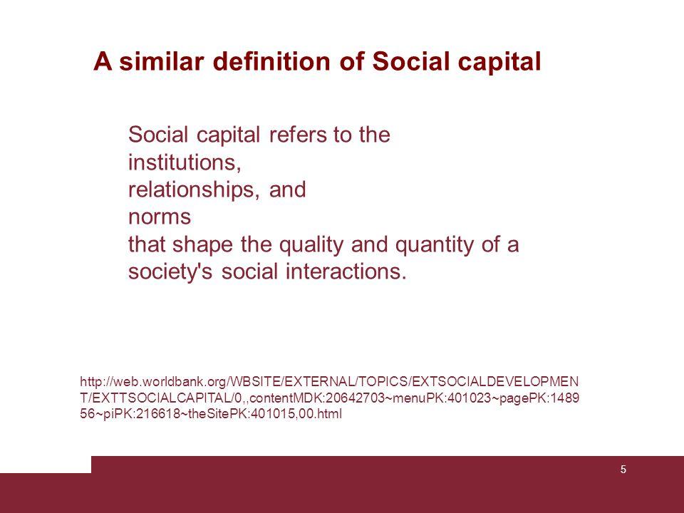 A similar definition of Social capital