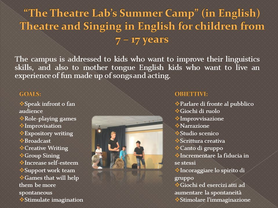 The Theatre Lab's Summer Camp (in English) Theatre and Singing in English for children from 7 – 17 years