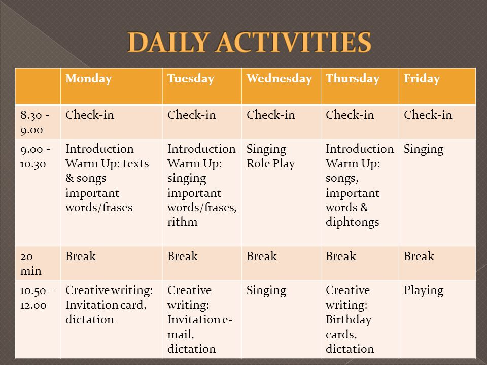 DAILY ACTIVITIES Monday Tuesday Wednesday Thursday Friday 8.30 -9.00