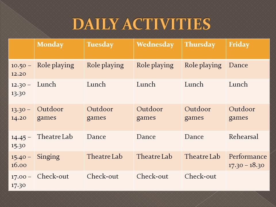 DAILY ACTIVITIES Monday Tuesday Wednesday Thursday Friday