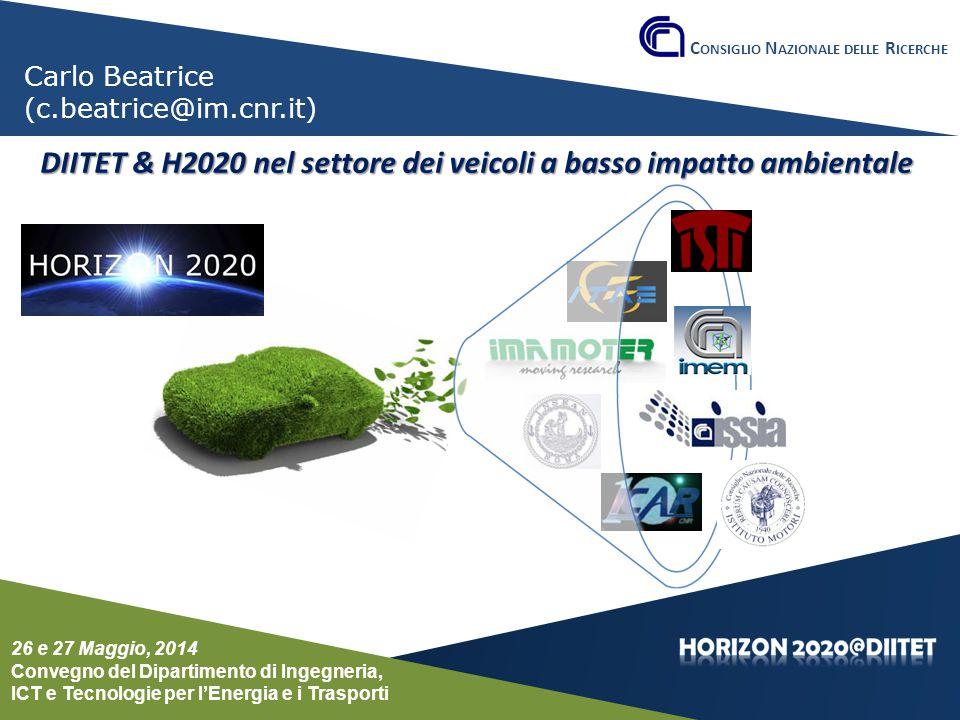 DIITET & H2020 nel settore dei veicoli a basso impatto ambientale