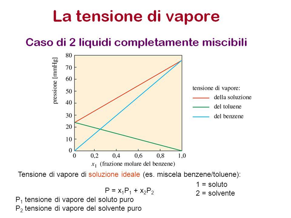 Tensione di vapore di soluzione ideale (es. miscela benzene/toluene):