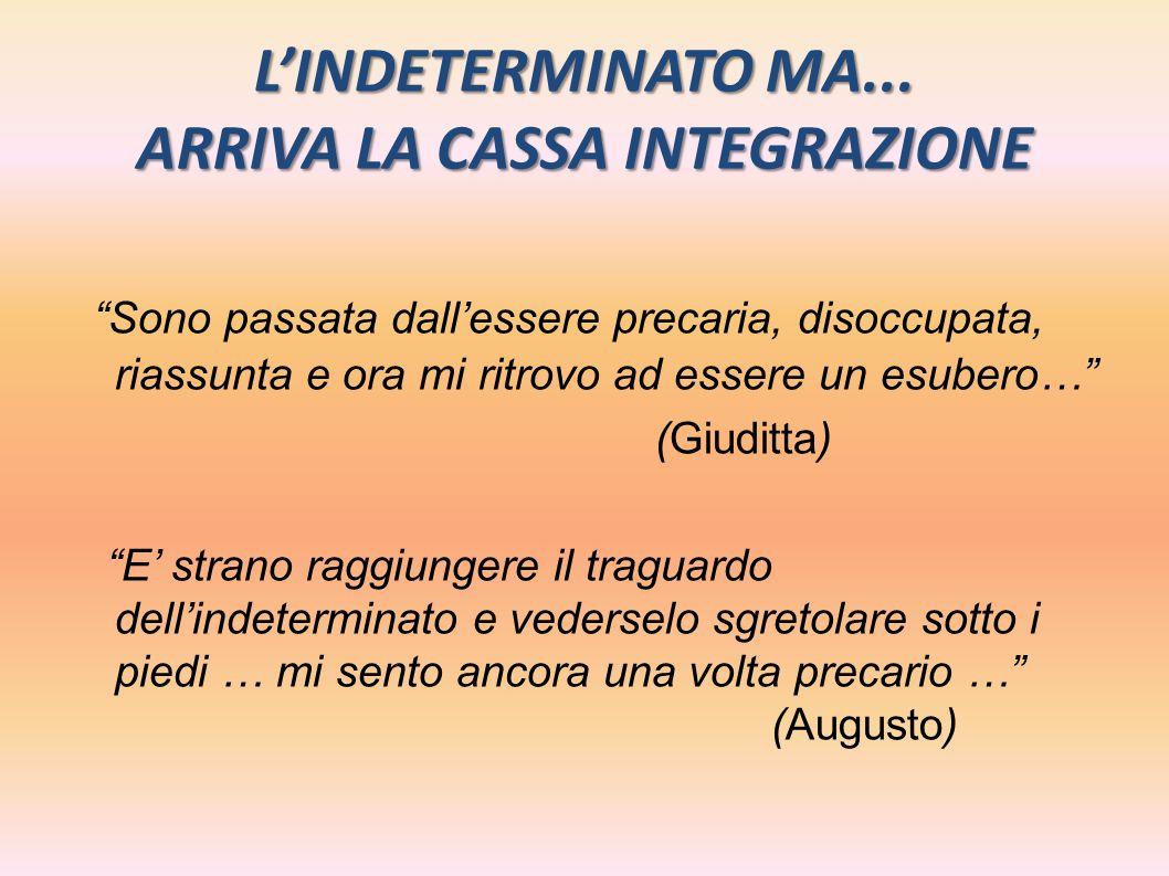 L'INDETERMINATO MA... ARRIVA LA CASSA INTEGRAZIONE