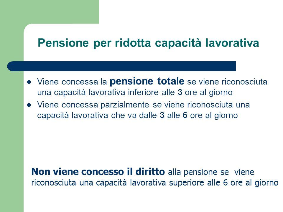Pensione per ridotta capacità lavorativa