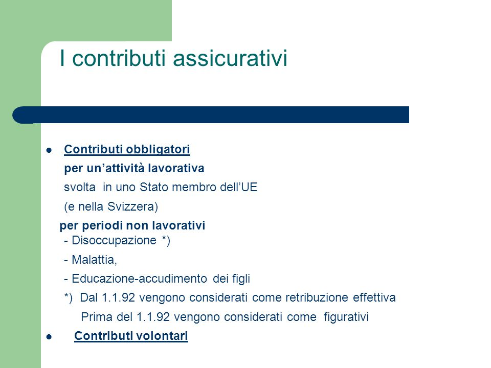 I contributi assicurativi